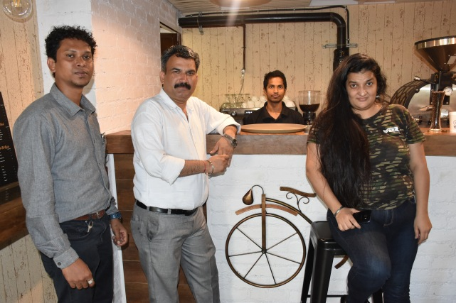 Priyanka Raina with team Gourakhsha Dhotre , Bjp Leader Anil spotted at Toffee Coffee Roasters ,Bandra
